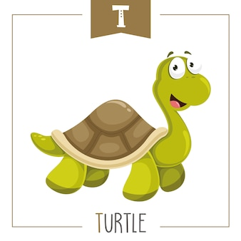 Illustration of alphabet letter t and turtle