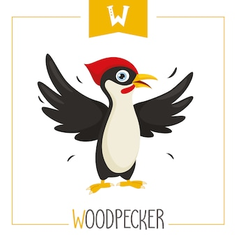 Illustration of alphabet letter w and woodpecker