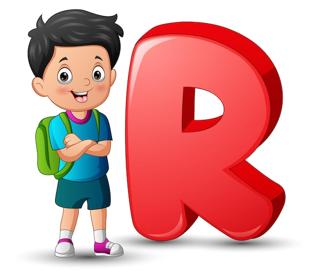 Illustration of alphabet r with a school boy standing