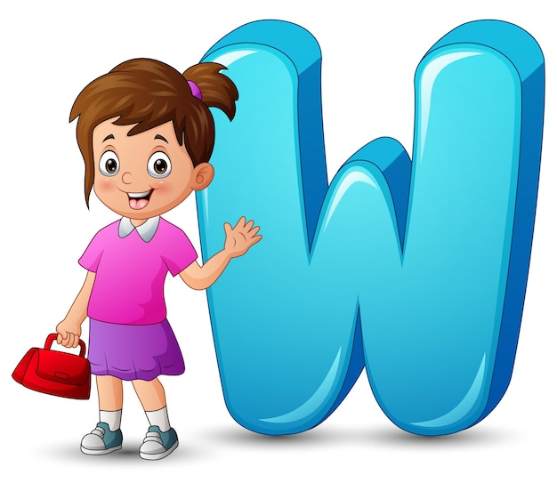 Illustration of alphabet w with a beautiful girl waving hand