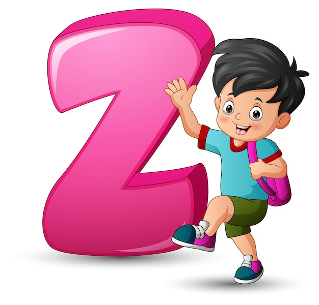 Illustration of alphabet z with a school boy posing