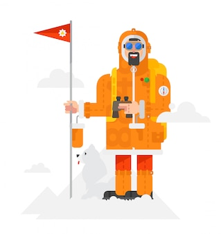 Illustration of a alpinist with a dog on a white background. vector.