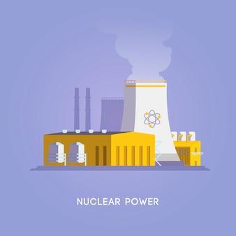 삽화. 대체 에너지 원. 친환경 에너지. 원자력.