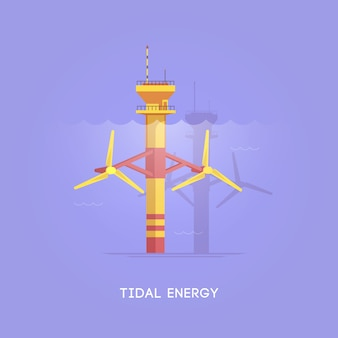 図。代替エネルギー源。グリーンエネルギー。潮汐タワー。