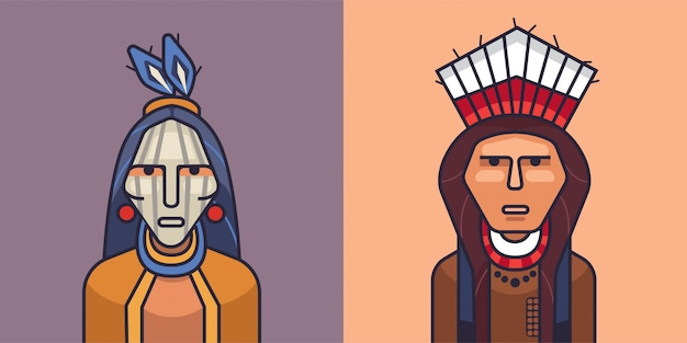 Illustration of american red indians. cartoon indian man