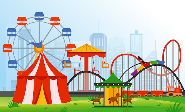 Illustration amusement park elements on modern city background. family rest in rides park with colorful ferris wheel, carousel, circus in flat style.