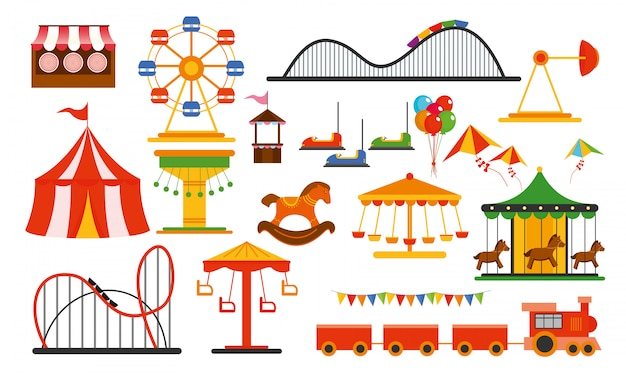 Illustration amusement park elements on white background. family rest in rides park with colorful ferris wheel, carousel, circus in flat style.