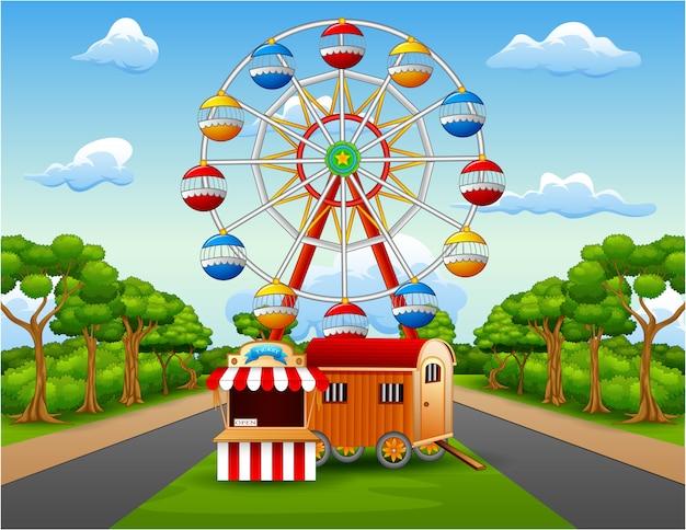 Illustration of amusement park with nature landscape