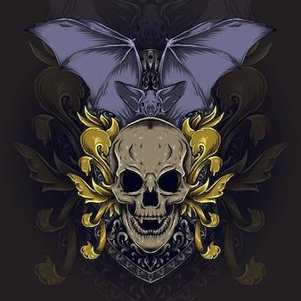 イラストとtシャツのデザインの頭蓋骨とバットの彫刻飾り