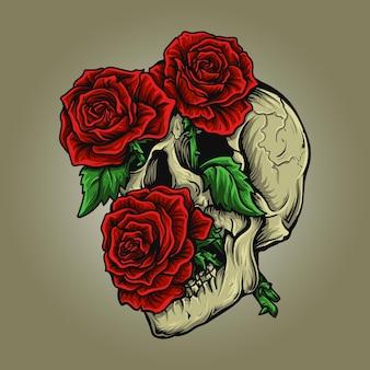 イラストとtシャツのデザインの頭蓋骨とバラ