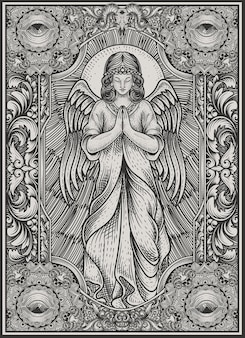 Illustration angel praying with vintage engraving style