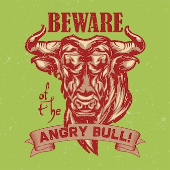 Illustration of angry bull