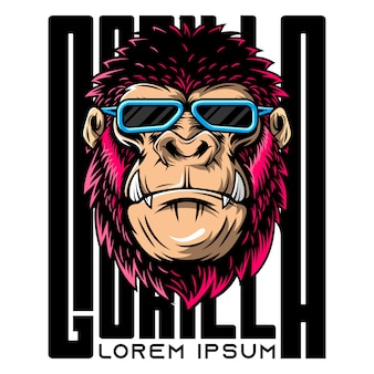 Illustration of angry gorilla wearing glasses