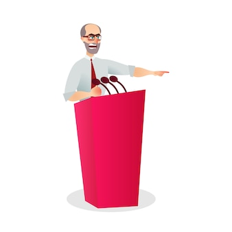 Illustration angry man speaking microphone podium