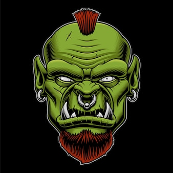 Illustration of an angry orc on the dark background. mascot of warrior.
