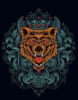 장식 조각 그림 화가 늑대 머리