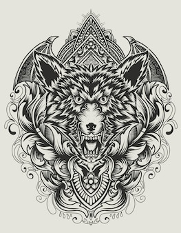 Illustration angry wolf head with vintage ornament