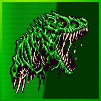 Illustration of angry zombie green raptor with a big mouth open and sharp teeth on the green background. hand-drawn illustration for mascot sport logo