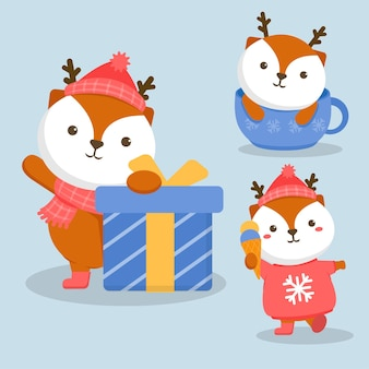 Illustration of animal character fox with gift box