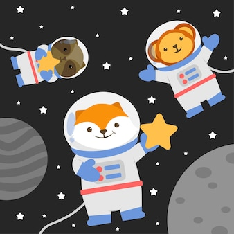 Illustration animal character wearing a space suit with stars