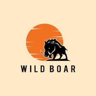 イラスト動物シルエットイノシシ野生動物ロゴデザインテンプレートサイン