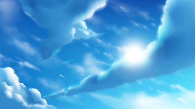 Illustration of anime clouds on the bright blue sky
