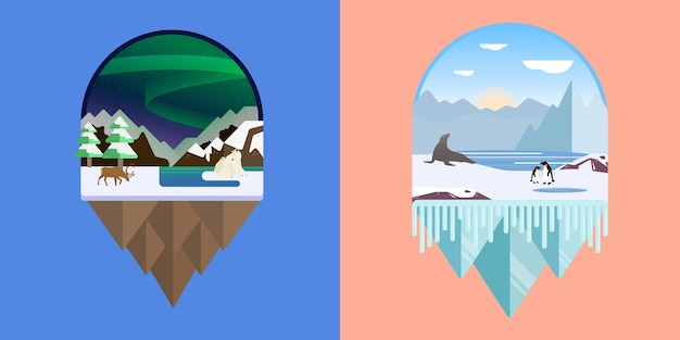 Illustration of an antarctic and arctic landscape