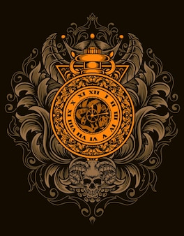 Иллюстрация старинные часы с гравировкой орнамента