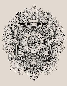Иллюстрация старинные часы с гравировкой орнамента Premium векторы