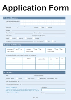 Illustration of application form