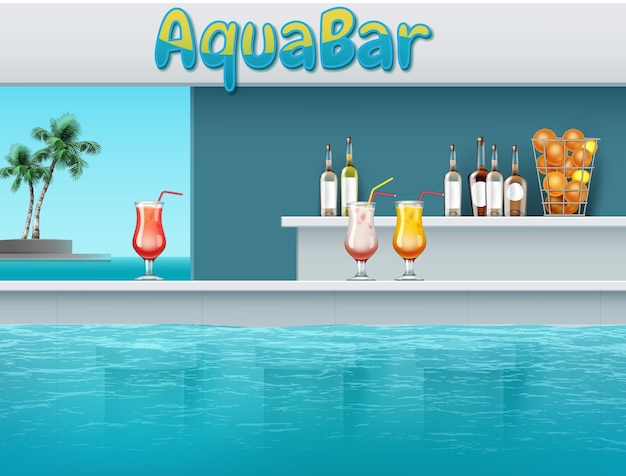 Illustration of aqua bar with drinks at large swimming pool in waterpark