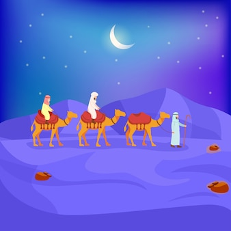 Illustration of arabian caravan on night desert