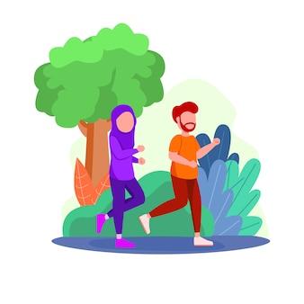 Illustration arabian couple doing jogging activity sport running