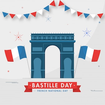 Illustration of arc de triomphe monument with wavy france flags on grey background for bastille day, french international day.