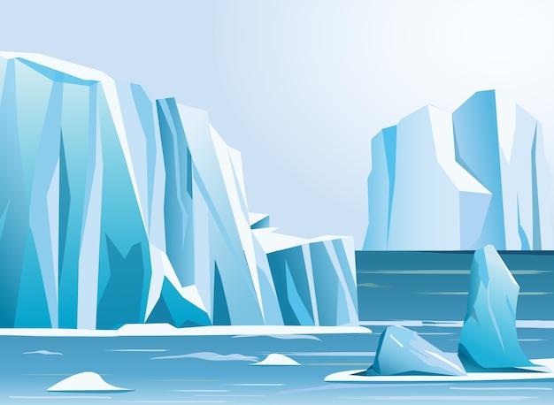 イラスト北極の風景の氷山と山々。冬の背景。