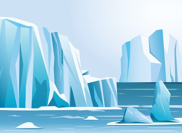 Illustration arctic landscape iceberg and mountains. winter background.