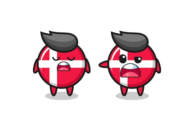 Illustration of the argue between two cute denmark flag badge characters , cute style design for t shirt, sticker, logo element