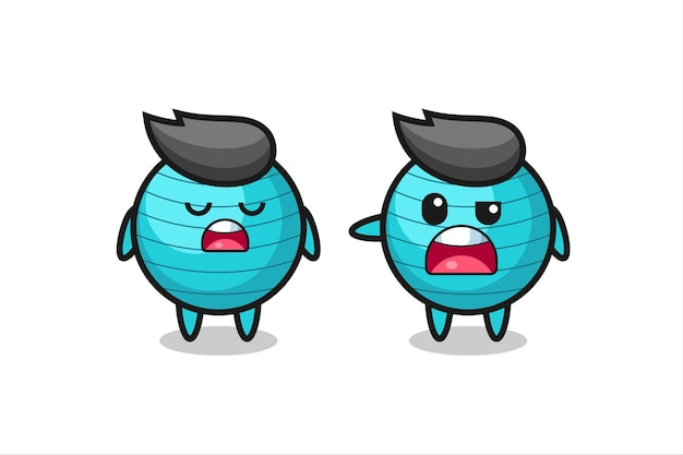 Illustration of the argue between two cute exercise ball characters , cute style design for t shirt, sticker, logo element