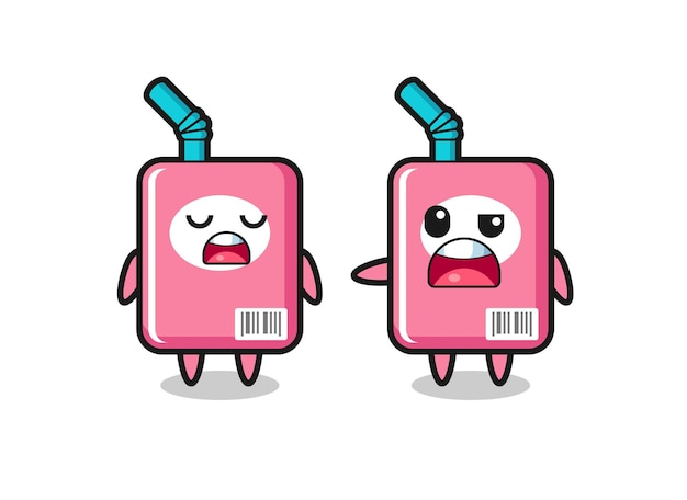 Illustration of the argue between two cute milk box characters , cute style design for t shirt, sticker, logo element