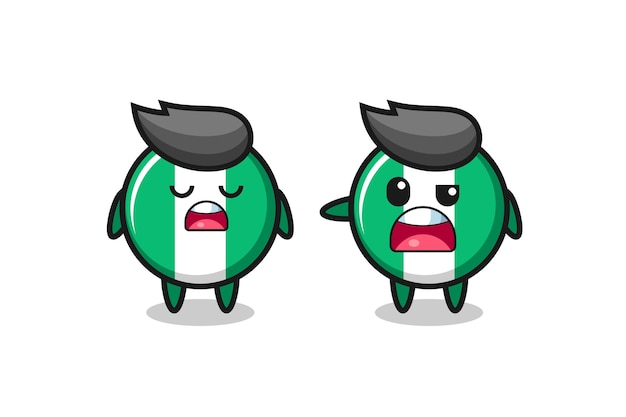 Illustration of the argue between two cute nigeria flag badge characters , cute style design for t shirt, sticker, logo element