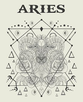 Illustration aries zodiac symbol