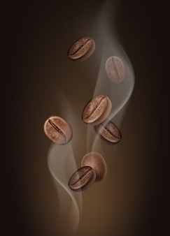 Illustration of aromatic coffee beans in hot steam closeup on brown background