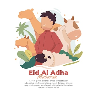 Illustration of the arrival of the blessed eid al adha