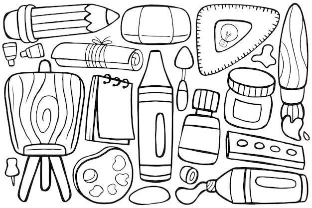 Illustration of art studio doodle in cartoon style