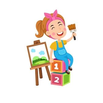 Illustration of artist girl painting on canvas