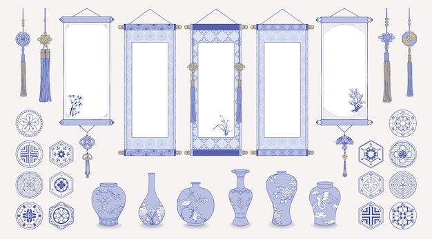 Illustration of asian hanging scrolls, ceramic vases, traditional patterns and oriental decorations.