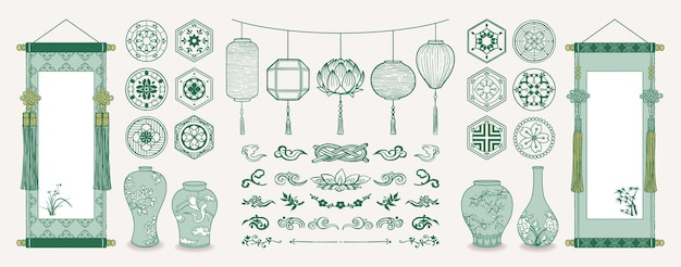 Illustration of asian hanging scrolls, lanterns, ceramic vases, traditional patterns and decorations.