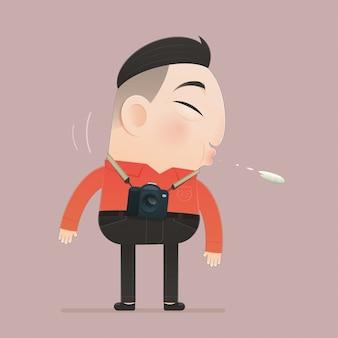 그림 아시아 남자는 바닥, 플랫 캐릭터 만화 디자인에 침을.