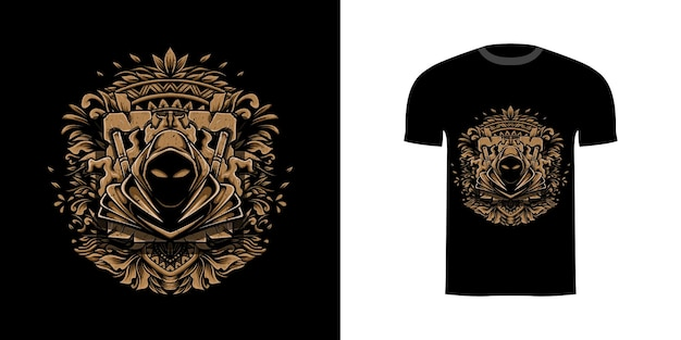 Иллюстрация убийцы с гравировкой орнамента для дизайна футболки