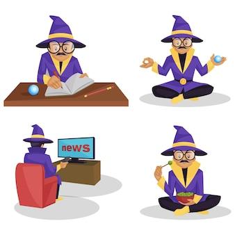 Illustration of astrologer character set